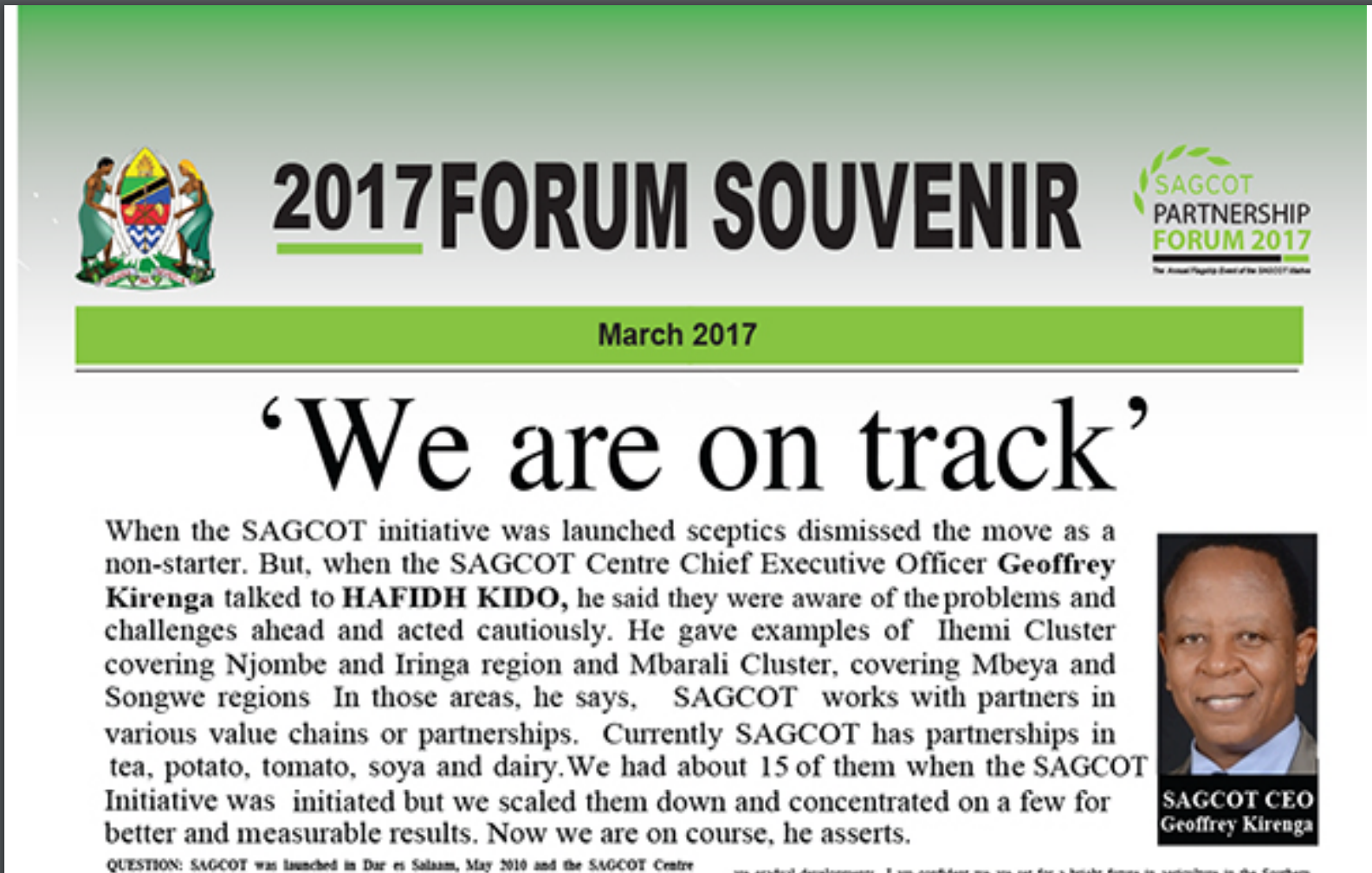 "2017 Forum Souvenir ""When the SAGCOT initiative was launched sceptics dismissed the move as a non-stater"