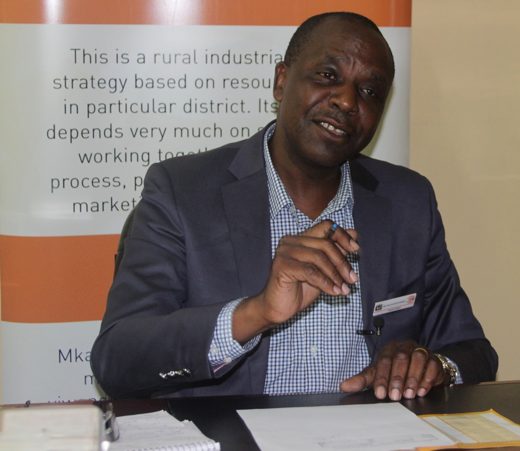 SIDO Director General, Professor Sylvester Mpanduji speaks to reporters yesterday inviting eligible  enterprising rural entrepreneurs to apply for working capital from the CRDB bank.  (Picture by Staff Photographer Isdory Njavike)